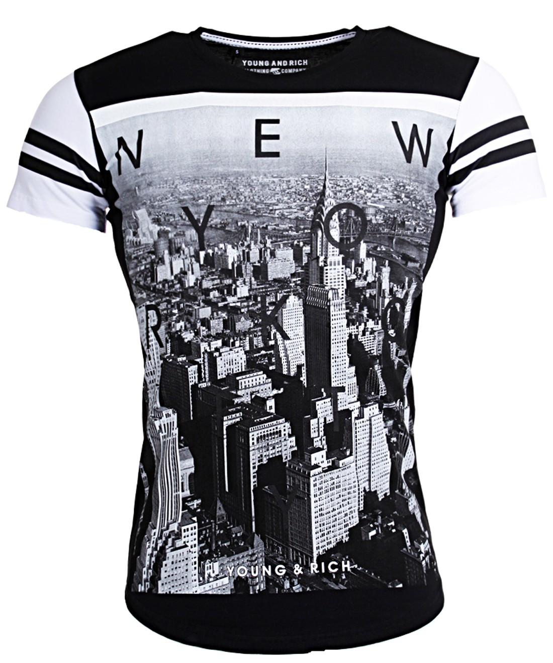 oversized herren t shirt lange passform newyork print slim fit 1907. Black Bedroom Furniture Sets. Home Design Ideas