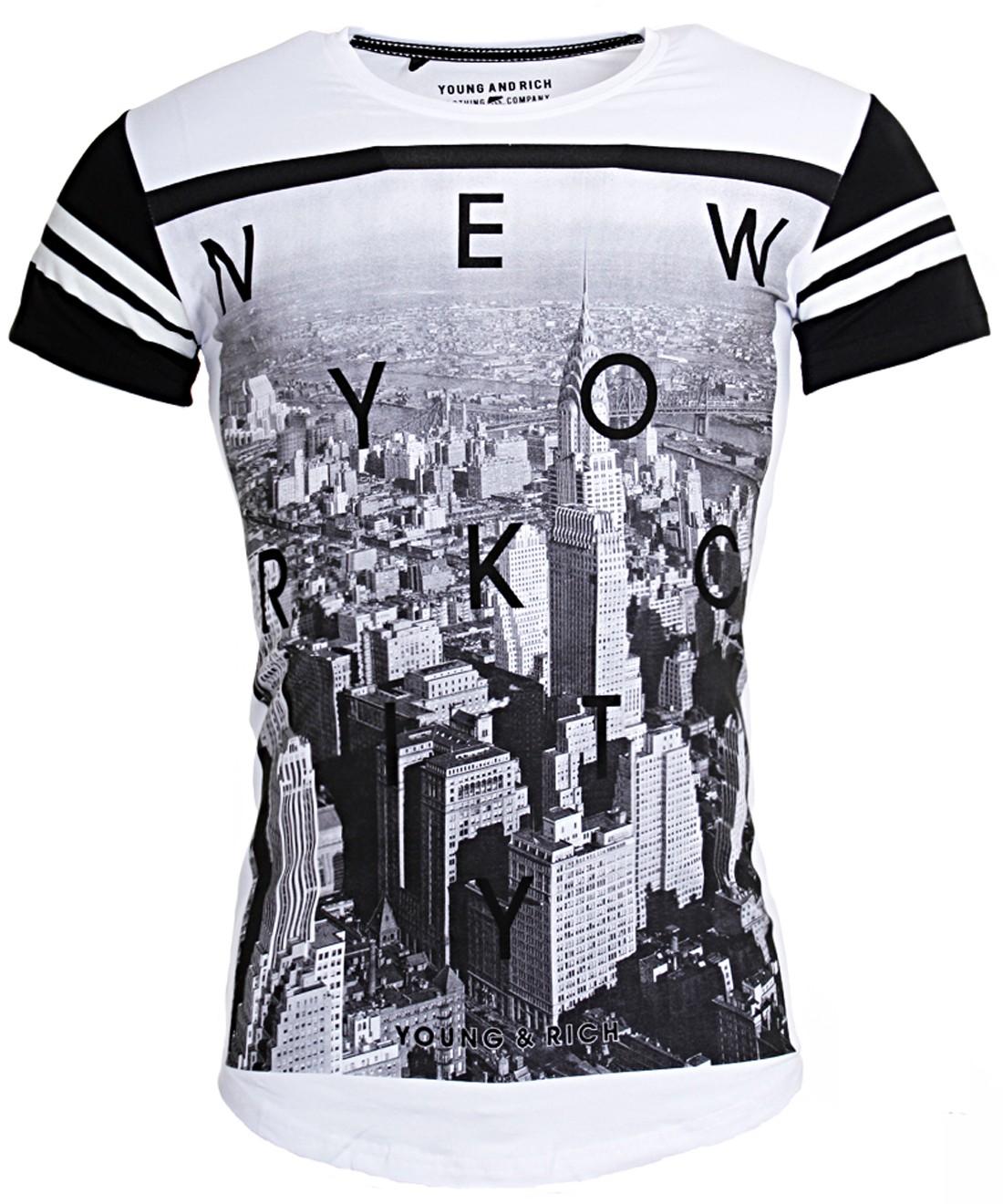 young rich oversized herren t shirt lange passform newyork print slim fit 1907 ebay. Black Bedroom Furniture Sets. Home Design Ideas