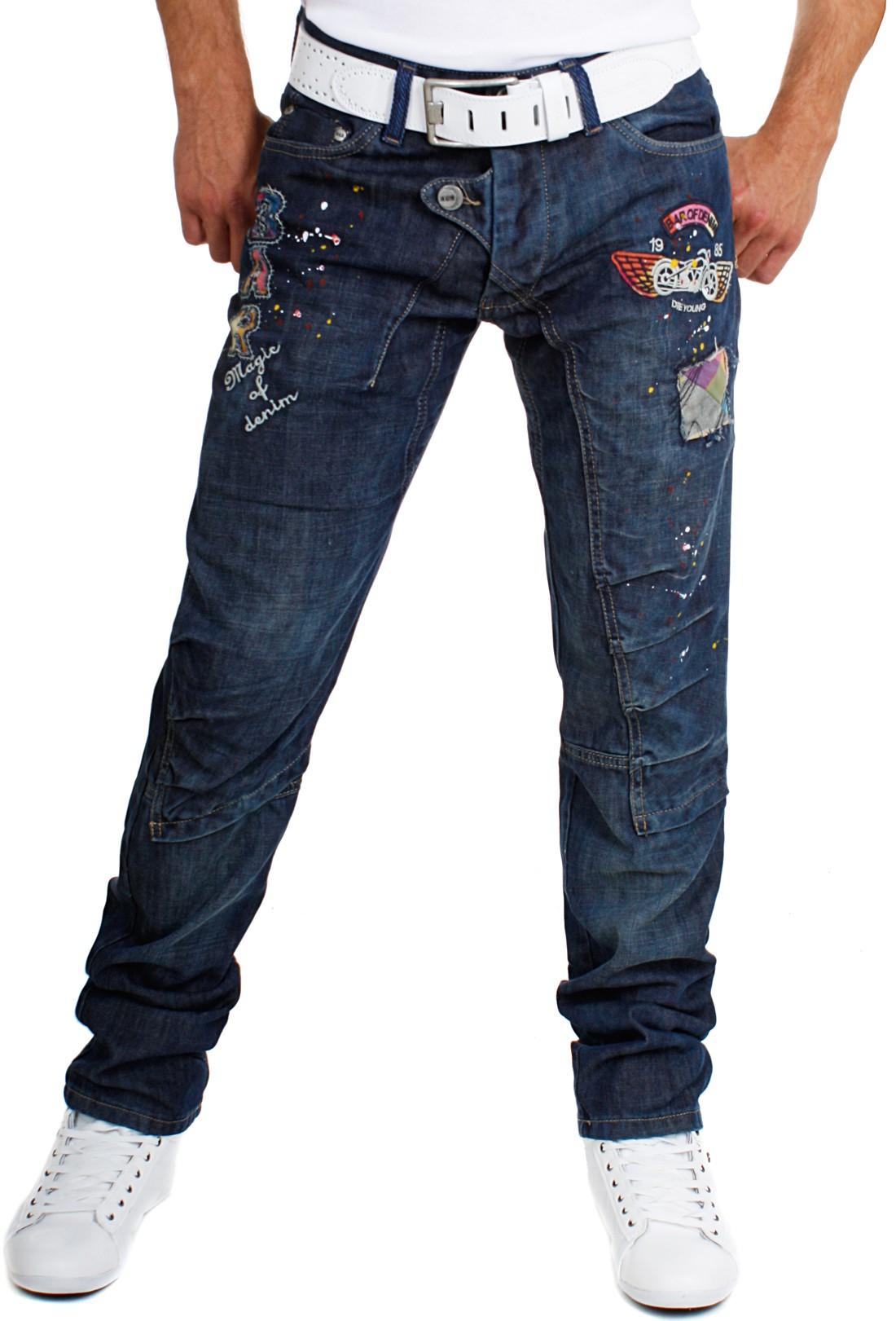 bar of denim vintage look denim herren jeans hose bestickt 4101 mit patches ebay. Black Bedroom Furniture Sets. Home Design Ideas