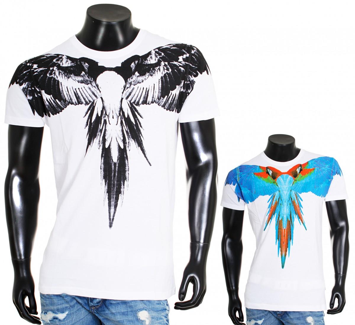 rundhals t shirt wei white sommer lookoptik print slimfit herren. Black Bedroom Furniture Sets. Home Design Ideas