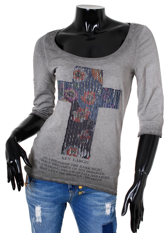 key largo damen t shirt 3 4 arm mit kreuz motiv longsleeve. Black Bedroom Furniture Sets. Home Design Ideas