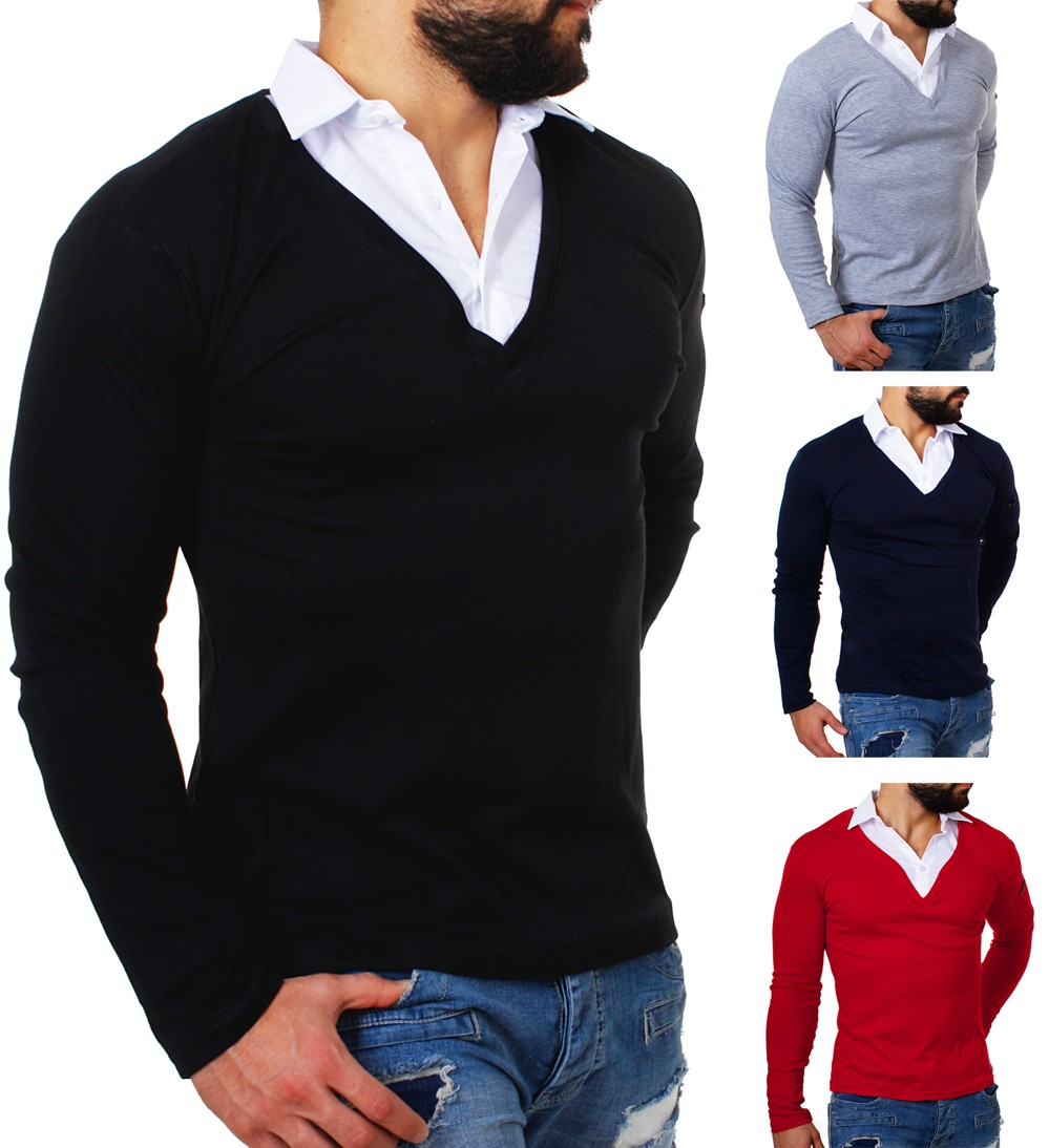rerock herren 2in1 longsleeve hemd kragen shirt pullover slimfit stretch 22235 ebay. Black Bedroom Furniture Sets. Home Design Ideas