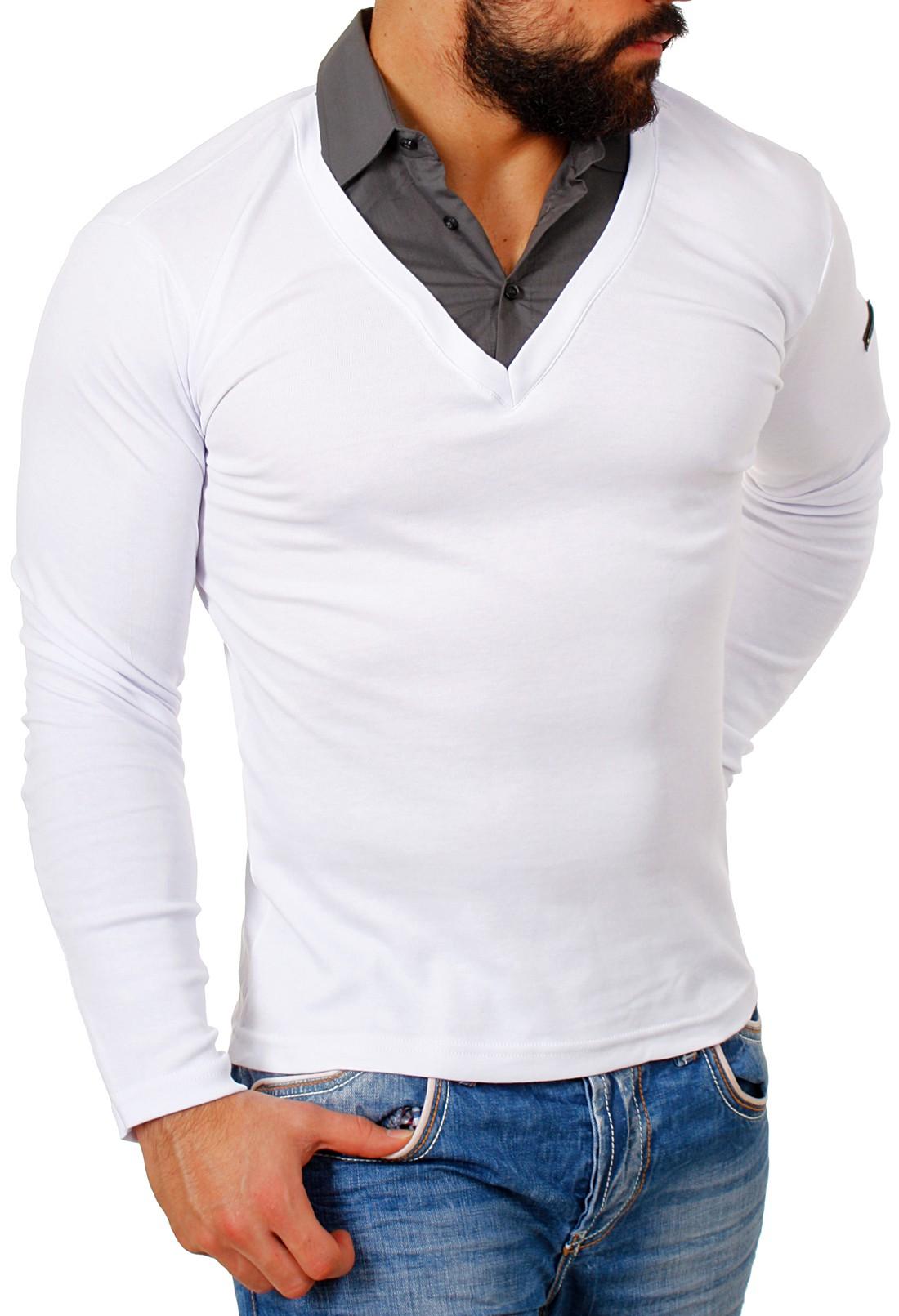 rerock herren double look longsleeve hemd shirt pullover slimfit 2in1 optik ebay. Black Bedroom Furniture Sets. Home Design Ideas