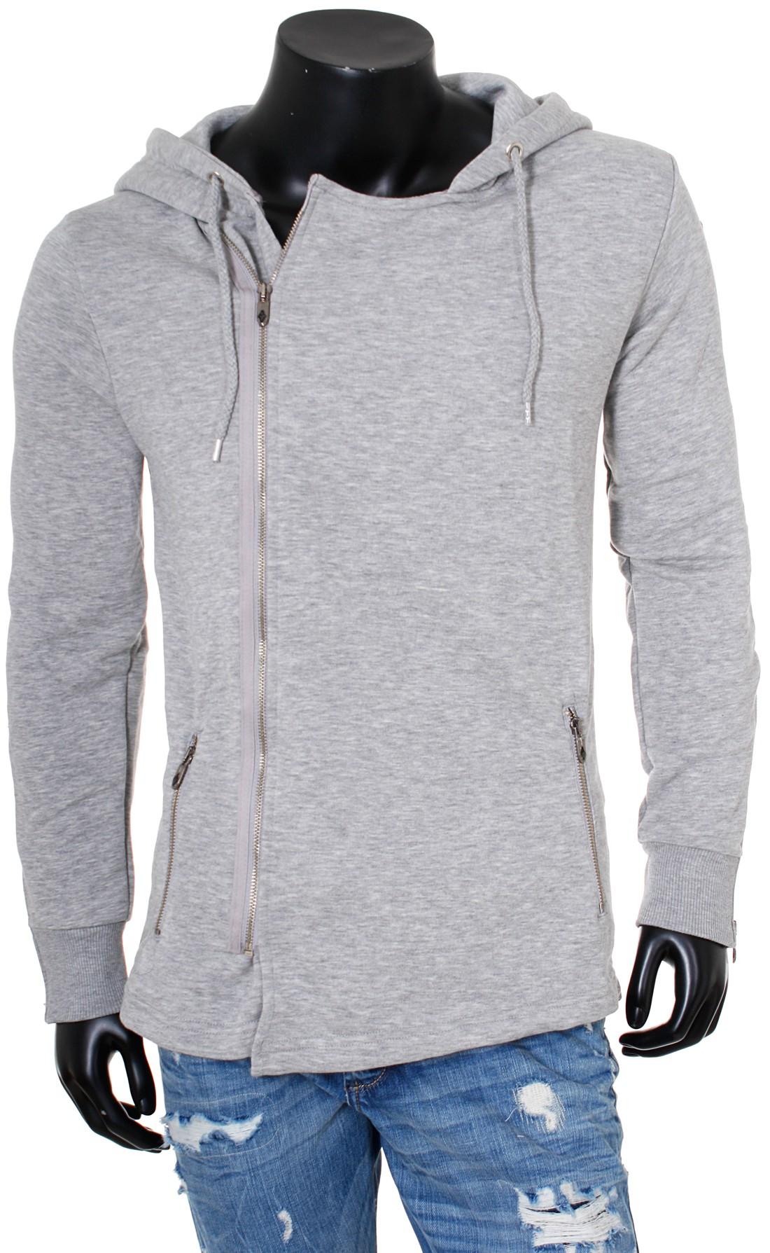 rerock herren sweatjacke mit kapuze asymmetrisch langer schnitt hoodie slimfit ebay. Black Bedroom Furniture Sets. Home Design Ideas