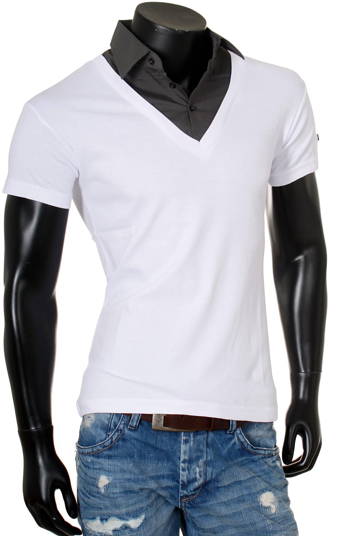 rerock herren 2in1 t shirt hemd kragen shirt kurzarm mit tiefem v ausschnitt einfarbig slimfit. Black Bedroom Furniture Sets. Home Design Ideas