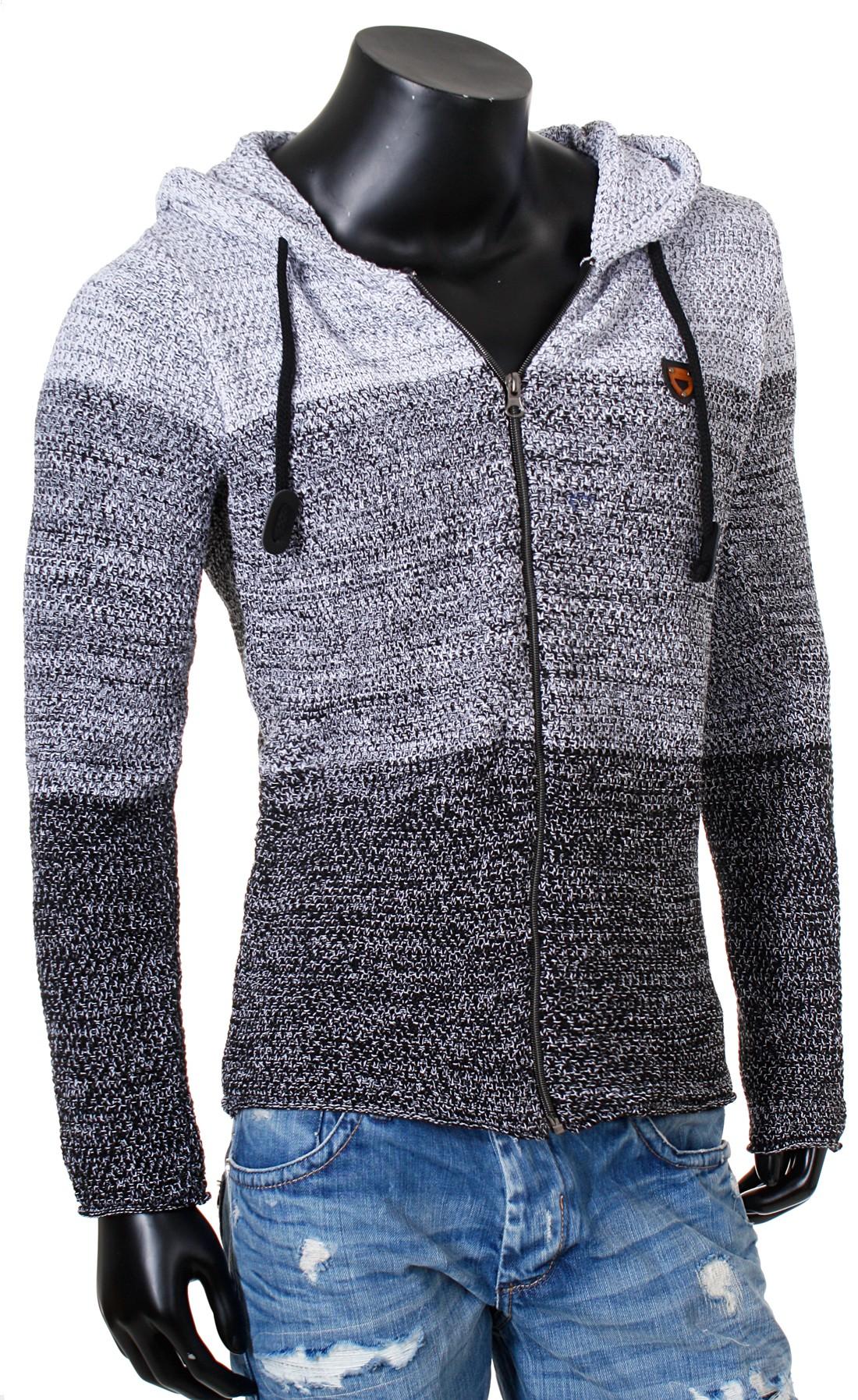 herren strickjacke mit kapuze zip pullover jacke hooded 7383 cardigan. Black Bedroom Furniture Sets. Home Design Ideas