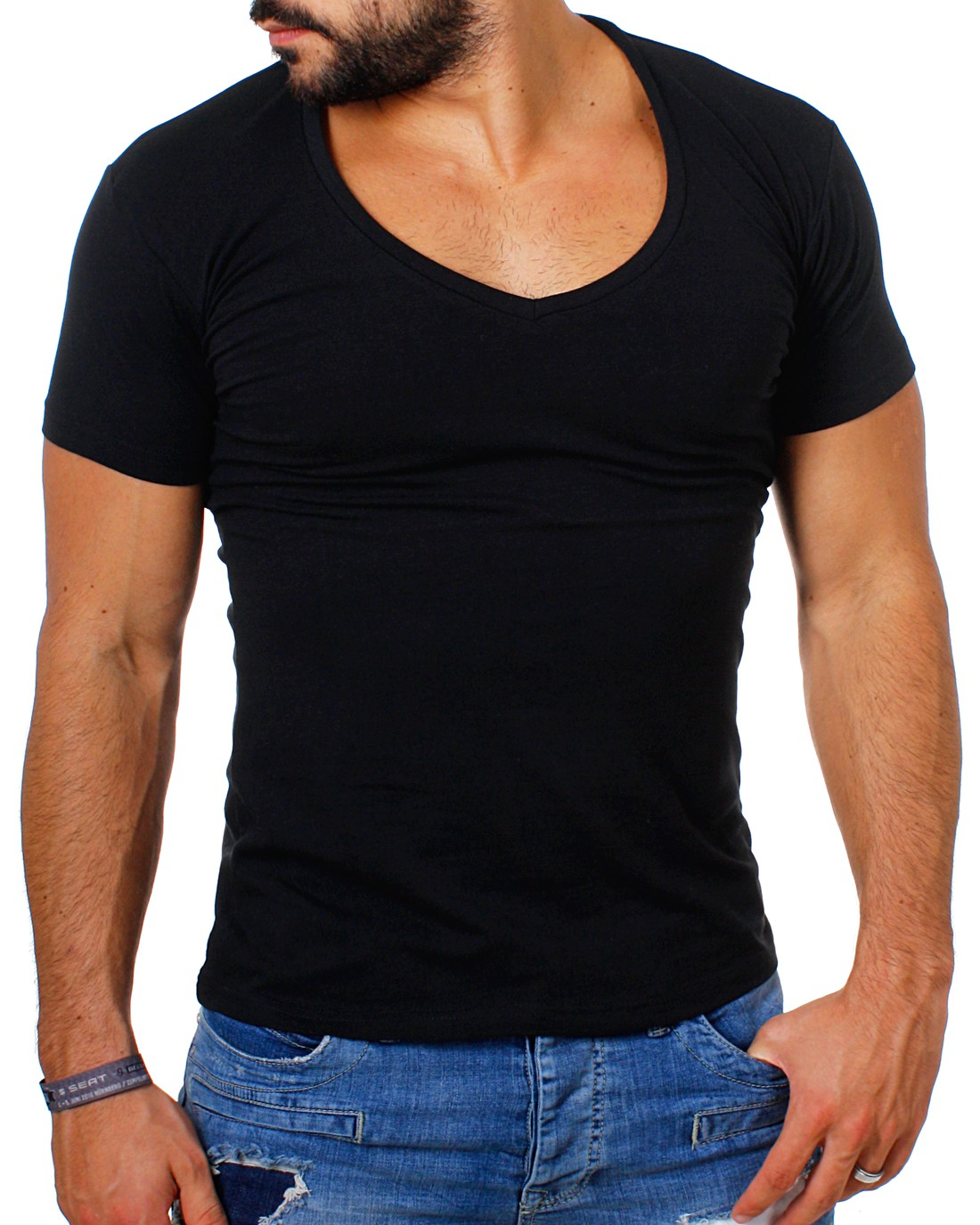 young rich herren t shirt extra tiefer v ausschnitt slimfit stretch. Black Bedroom Furniture Sets. Home Design Ideas