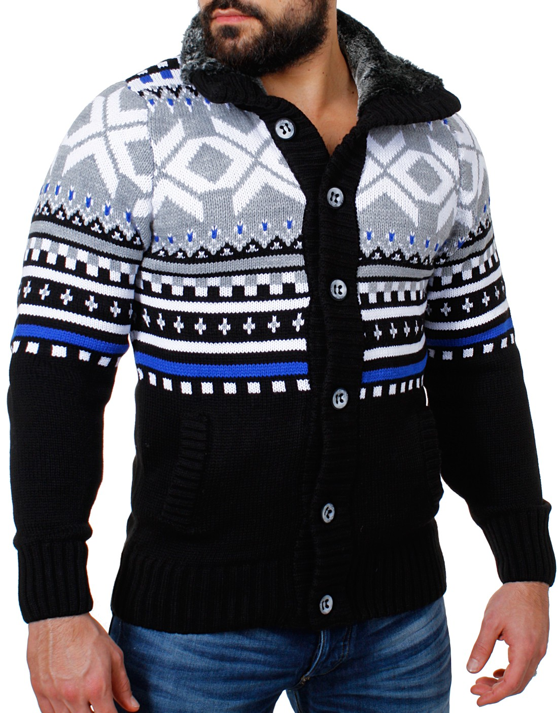 carisma herren strickjacke norwegerpullover strickpullover mit knopfleiste 7011 ebay. Black Bedroom Furniture Sets. Home Design Ideas