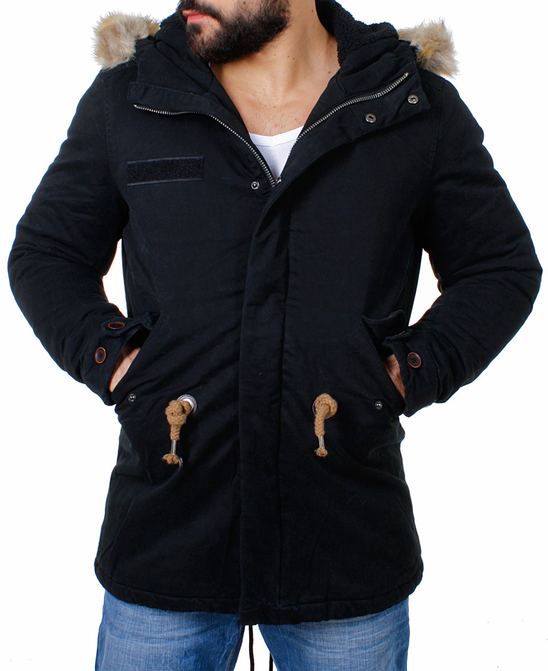 young rich herren parka winter jacke kapuze kurzmantel warm gef ttert vintage ebay. Black Bedroom Furniture Sets. Home Design Ideas