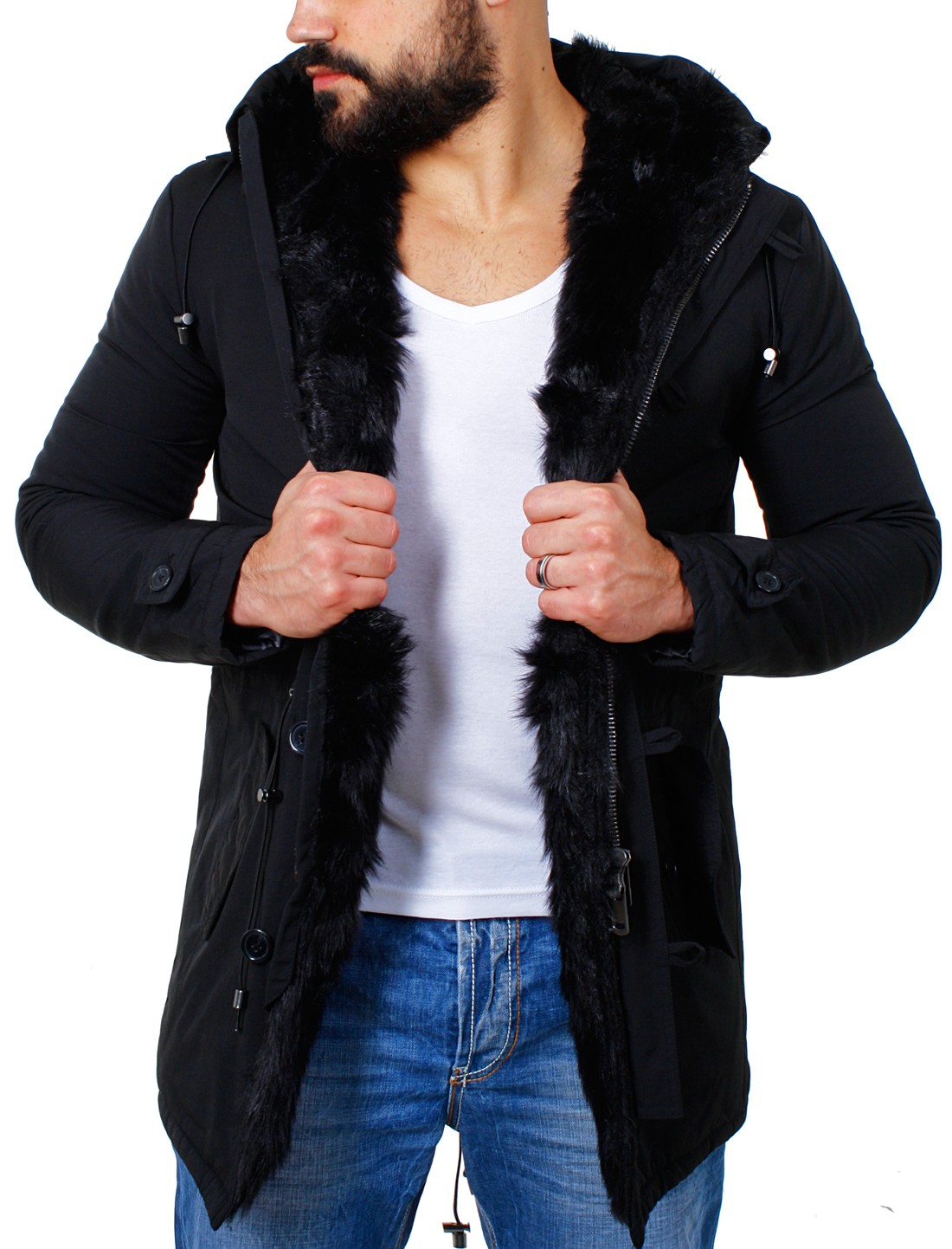 redbridge herren kurzmantel parka jacke mit kunstinnenfell winterjacke warm gef ttert m6032. Black Bedroom Furniture Sets. Home Design Ideas