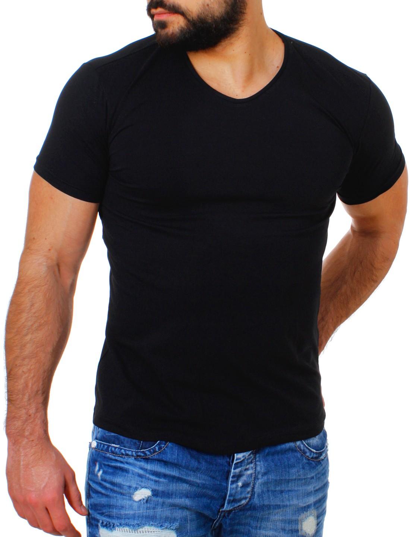 young rich herren v ausschnitt t shirt uni slimfit. Black Bedroom Furniture Sets. Home Design Ideas