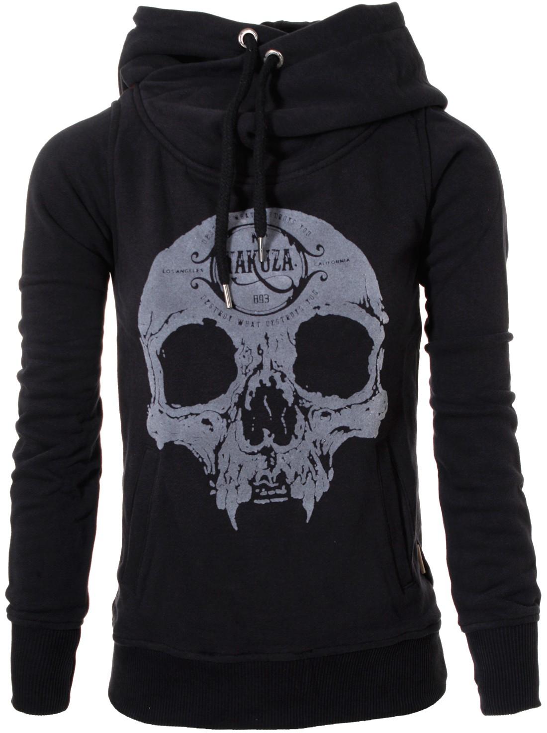 yakuza original damen velvet skull hoodie pullover kapuze. Black Bedroom Furniture Sets. Home Design Ideas