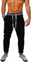 Young & Rich Herren Baggy Freizeithose Sporthose Sweatpants Jogginghose Trainingshose tief sitzend drop crotch low mit Knopfleiste