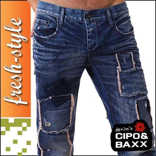 cipo baxx jeans destroyed look blau lange hose f r herren ebay. Black Bedroom Furniture Sets. Home Design Ideas