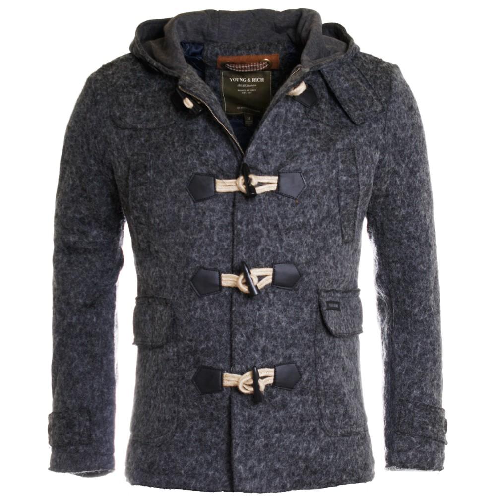 young rich herren winter jacke dufflecoat kurzmantel slimfit grau jk 403 ebay. Black Bedroom Furniture Sets. Home Design Ideas