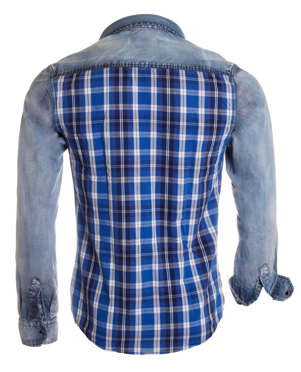 young rich herren karo jeans hemd 34 6118 vintage holzf ller look slimfit herren oberteile hemden. Black Bedroom Furniture Sets. Home Design Ideas