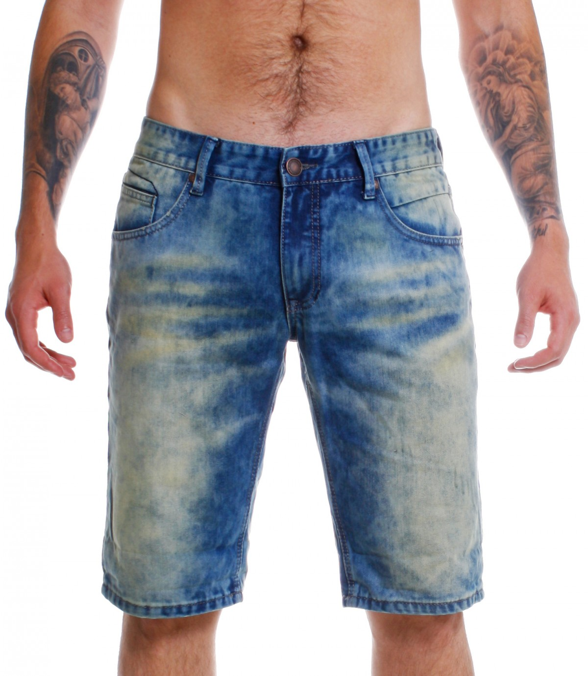 shine original herren denim jeans shorts 2 55028ato blau vintage capri hose kurz ebay. Black Bedroom Furniture Sets. Home Design Ideas