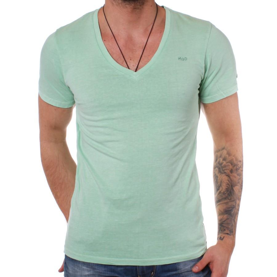 T o Tiefer Zu Details Shirt M Vintage Mod V Grün Sp12 Mint Green Ausschnitt d Herren Ts503 XxBEC0wq
