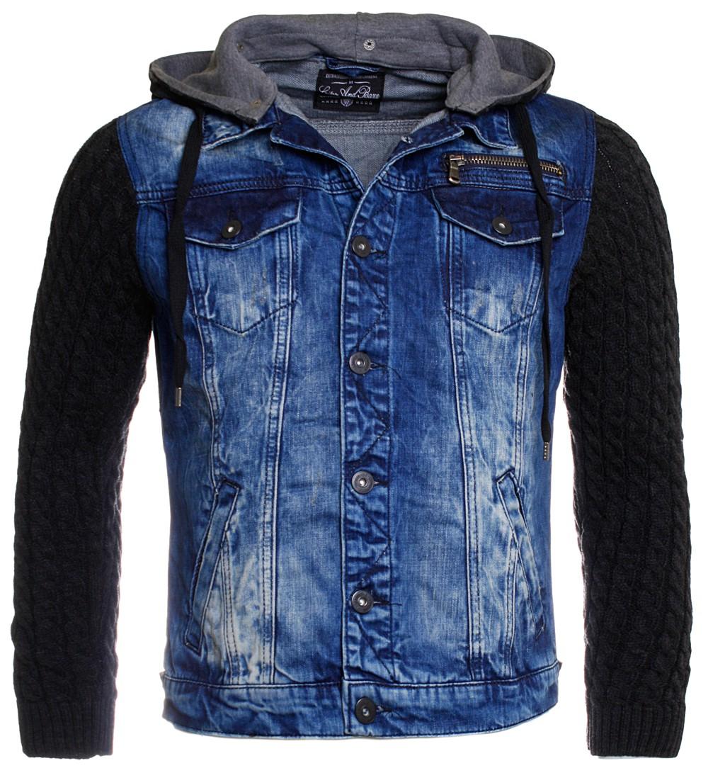 cipo baxx herren jeansjacke strick rmel kapuze blau. Black Bedroom Furniture Sets. Home Design Ideas