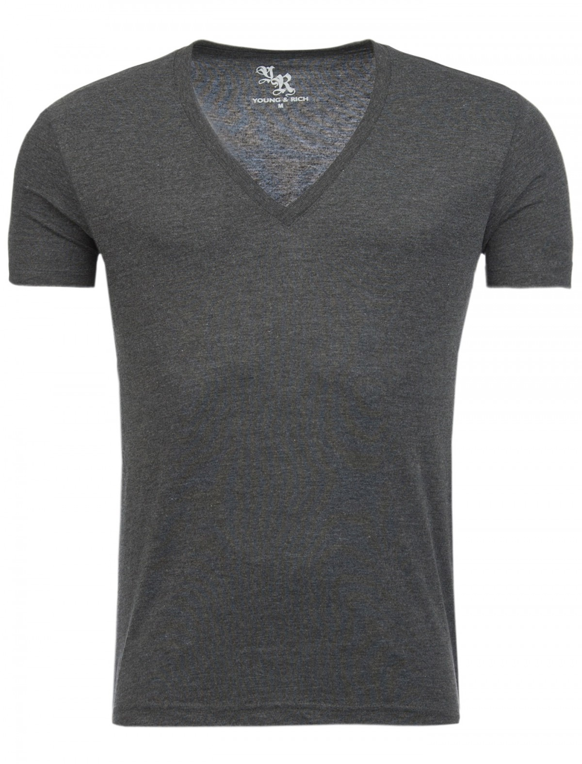 Young & Rich Herren Uni T-Shirt tiefer V-Ausschnitt deep V-Neck einfarbig 2004